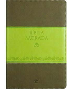Bìblia Sagrada | NVI | Letra Normal | Luxo | Verde com Marrom