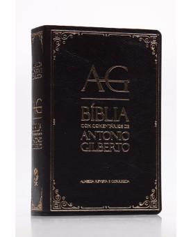 Bíblia com Comentários de Antonio Gilberto   RC   Letra Normal   Luxo   Preta