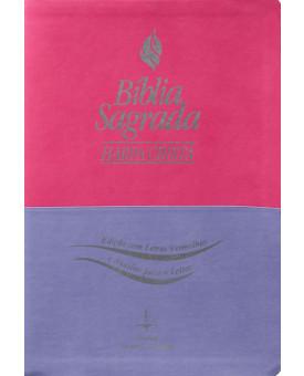 Bíblia Sagrada  RC   Harpa Cristã   Letra Gigante   Pink e Lilás   Luxo