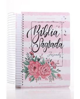 Bíblia Sagrada Jornada   NAA   Letra Grande   Capa Dura   Aquarela Rosa