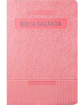 Bíblia Sagrada Letra Gigante | RA | Média | Rosa | Luxo | Com Índice