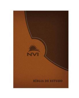 Bíblia de Estudo | NVI | Marrom e Marrom Escuro | Luxo C/ Índice