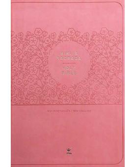 Bíblia Sagrada Holy Bible | Português e Inglês | NVI | Capa Luxo Rosa