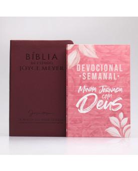 Kit Bíblia da Joyce Meyer Bordo + Grátis Devocional Semanal Pétalas | Mulher de Fé