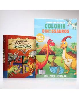 Kit 6 Livros Minha Primeira Biblioteca de Dinossauros + Tapete Gigante Para Colorir