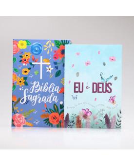 Kit Bíblia NVT Céu Azul + Devocional Eu e Deus Jardim Secreto | Mulher de Fé