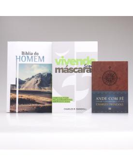 Kit Bíblia do Homem Montanha + 2 Livros Charles Swindoll   Fortalecido Pelas Escrituras