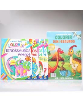 Kit Tapete Gigante + 4 Livros Como é Bom Colorir! | Dinossauros