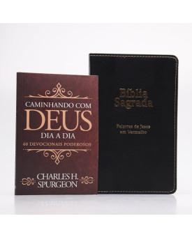 Kit Bíblia RC Harpa Letra Ultragigante Estrela Preta + Devocional Spurgeon Clássica | Pai Para Todos