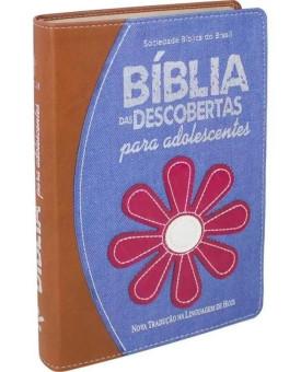Bíblia das Descobertas para Adolescentes | Azul/Marrom | Jeans | NTLH