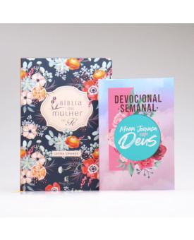 Kit Bíblia de Estudo da Mulher de Fé | NVI | Letra Grande | Florida + Devocional Semanal Colagem