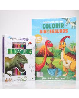 Kit 2 Livros | Megakit Fantásticos Dinossauros + Tapete Gigante Dinossauros | Para Colorir
