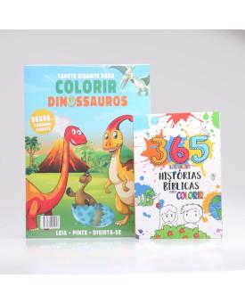 Kit 2 Livros   Tapete para Colorir Dinossauros + 365 Ilustrações   Histórias Bíblicas