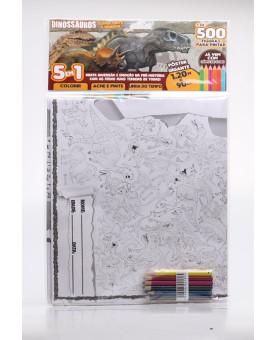 Super Pinte e Brinque - Pôster Gigante   Dinossauros   5 em 1