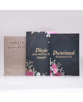 Kit Bíblia da Joyce Meyer Dourada + Devocional Descobrindo o Real + Diário Para Mulheres de Oração | Capa Dura | Mulher de Fé