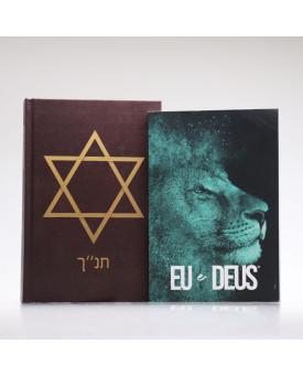 Kit Estrela de Davi | Bíblia + Eu e Deus Leão Azul | Orar e Vencer