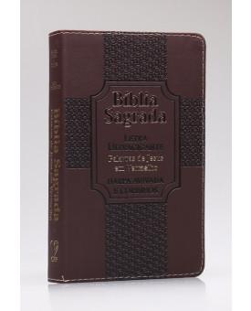 Bíblia Sagrada | RC | Harpa Avivada e Corinhos | Letra Ultragigante | Luxo | Estrela Marrom
