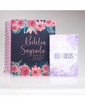 Kit Bíblia Anote Plus RC Rosas + Devocional Eu e Deus Lílas | Mulher de Fé