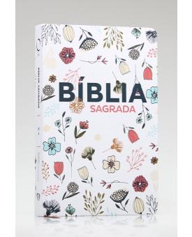 Bíblia Sagrada | RA | Letra Grande | Soft Touch | Flowers Branca