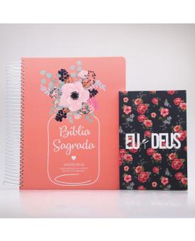 Kit Bíblia Anote Plus RC Flor de Pote + Devocional Eu e Deus Rosas | Mulher de Fé