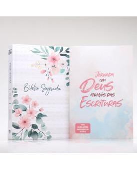 Kit Bíblia Minha Jornada com Deus NVI Floral Branca + Guia Bíblico | Guia Meus Passos