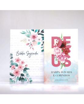 Kit Bíblia Minha Jornada com Deus NVI Floral Branca + Harpa Avivada e Corinhos | Louvando à Todo Momento