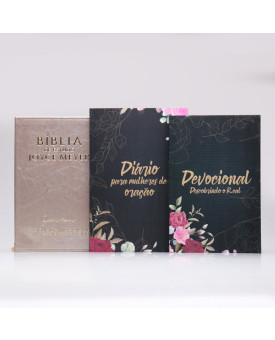 Kit Bíblia da Joyce Meyer Dourada + Devocional Descobrindo o Real + Diário Para Mulheres de Oração | Mulher de Fé