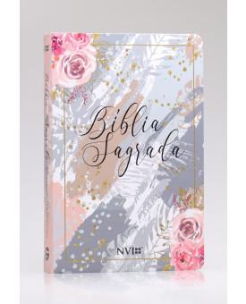 Bíblia Sagrada | NVI | Letra Gigante | Semi-Luxo | Flores Cinza