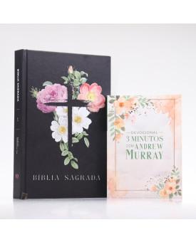 Kit Bíblia ACF Flores Cruz + Devocional Andrew Murray | Crescendo na Graça