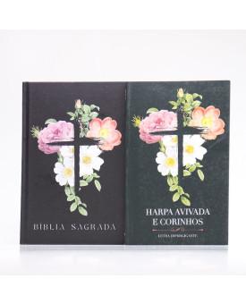 Kit Bíblia Minha Jornada com Deus NVI Flores Cruz + Harpa Avivada e Corinhos | Louvando à Todo Momento