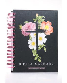 Bíblia Sagrada | NVI | Letra Normal | Capa Dura | Flores Cruz | Espiral | Com Espaço Para Anotações
