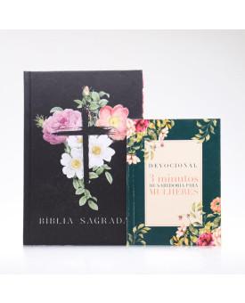 Kit Bíblia ACF Capa Dura Flores Cruz + Devocional 3 Minutos de Sabedoria Para Mulheres Clássica | Vivendo com Propósito