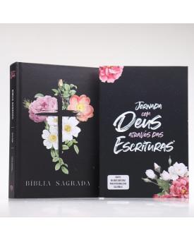Kit Bíblia Minha Jornada com Deus NVI Flores Cruz + Guia Bíblico | Guia Meus Passos