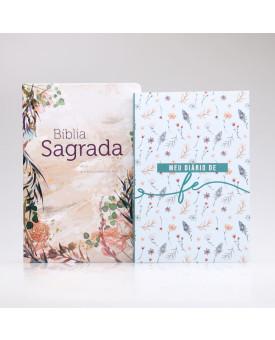 Kit Bíblia ACF Flor Marmorizada + Grátis Meu Diário de Fé | Mulher de Fé