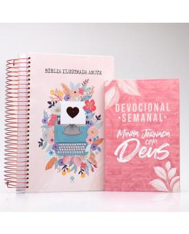 Kit Bíblia Anote Ilustrada Florescer + Grátis Devocional Semanal Minha Jornada com Deus | Mulher de Fé Ilustrada