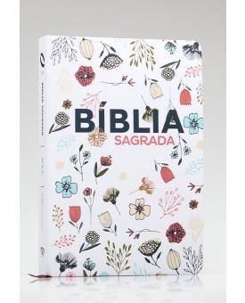 Bíblia Sagrada | NAA | Letra Grande | Soft Touch | Flowers Branca