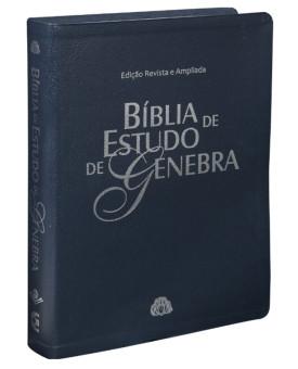 Bíblia de Estudo Genebra | RA | Letra Grande |  Luxo | Azul