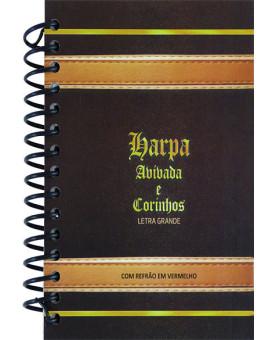 Harpa Avivada e Corinhos | Com Refrão em Vermelho | Letra Grande | Pequena | Espiral | Masculina | Preta/Amarela