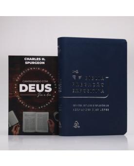 Kit Bíblia Pregação Expositiva Hernandes Dias Lopes Azul Escuro + Devocional Spurgeon
