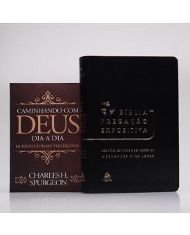 Kit Bíblia Pregação Expositiva Hernandes Dias Lopes Preto Black Piano + Devocional Spurgeon | Clássica