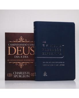 Kit Bíblia Pregação Expositiva Hernandes Dias Lopes Azul Escuro + Devocional Spurgeon | Clássica