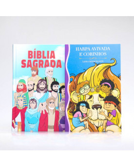 Kit Bíblia Minha Jornada com Deus NVI Ilustrada + Harpa Avivada e Corinhos | Louvando à Todo Momento