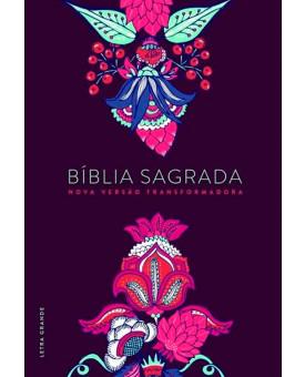 Bíblia Sagrada | Indian Flores Vinho | NVT | Letra Grande | Capa Dura