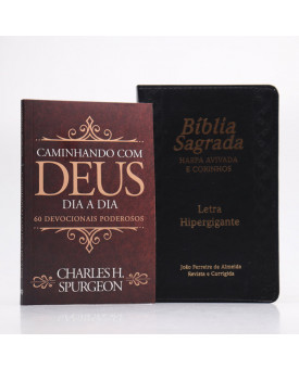 Kit Bíblia RC Harpa Letra Hipergigante Preta Índice + Devocional Spurgeon Clássica | Pai Para Todos