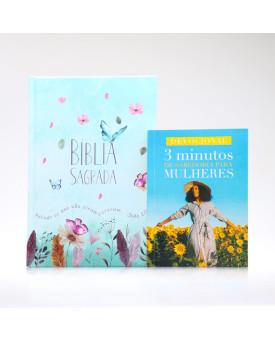 Kit Bíblia ACF Capa Dura Jardim Secreto + Devocional 3 Minutos de Sabedoria Para Mulheres Girassol | Vivendo com Propósito