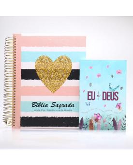 Kit Bíblia Anote Plus RC Coração Brilhante + Devocional Eu e Deus Jardim Secreto   Mulher de Fé