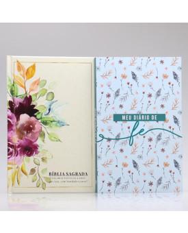 Kit Bíblia NAA Jardim da Vida + Meu Diário de Fé Flores do Campo | Fé Restaurada