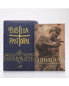 Kit Nova Bíblia Pastoral Letra Normal Jeans Zíper + Didaqué | Vivenciando a Fé