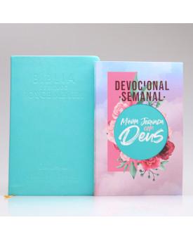 Kit Bíblia da Joyce Meyer Azul + Grátis Devocional Semanal Colagem | Mulher de Fé
