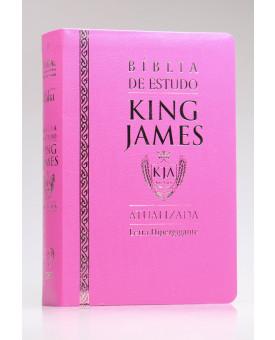 Bíblia de Estudo | King James Atualizada | Letra Hipergigante | Luxo | Rosa